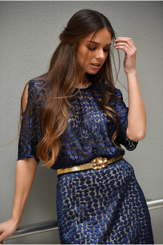 Φούστα leopard print μπλε