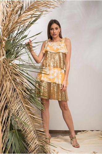 Φόρεμα floral με χρυσές παγιέτες