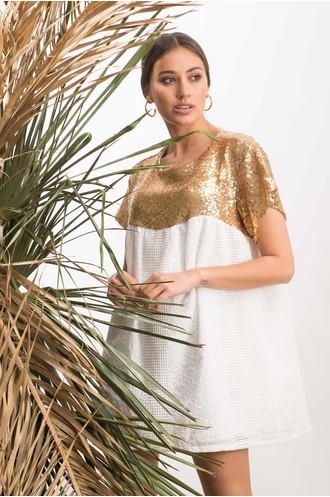 Φόρεμα κοφτό λευκό με χρυσές παγιέτες