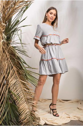 Φόρεμα κοντομάνικο γκρι με τρέσα