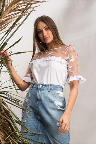 T-shirt κομποζέ λουλούδια λευκό